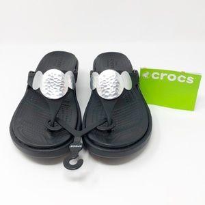 9283fbd83fc029 Crocs Sanrah Embellished Wedge Sandal Black Size 6